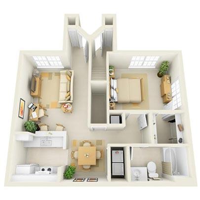 The Maple 2 Bedrooms, 1 Bathroom Floor Plan