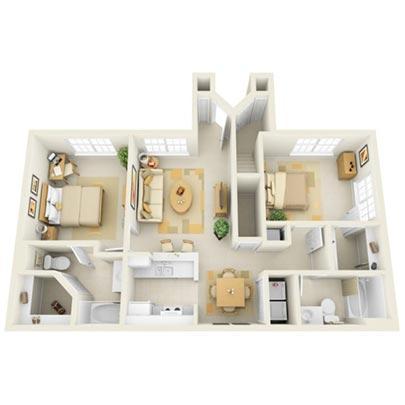 The Cypress 2 Bedrooms, 1.5 Bathrooms Floor Plan